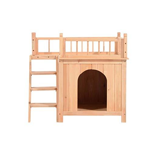 2 STORY Cat House Pet Supplies Comfort Home Indoor Outdoor Wooden Shelter Brown