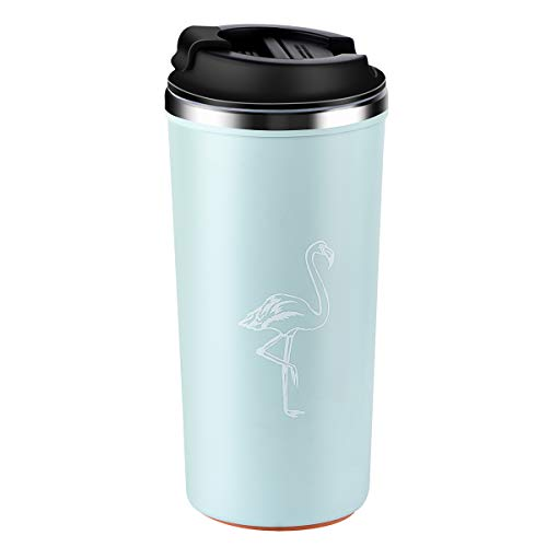 ETROBOT Coffee Tumbler, Stainless Steel Coffee Cup Wall Vacuum Reusable Office Coffee Mug That Won't Fall Over Great for Home, Office, Outdoor Works(Light Blue) (Best Coffee Tumbler 2019)