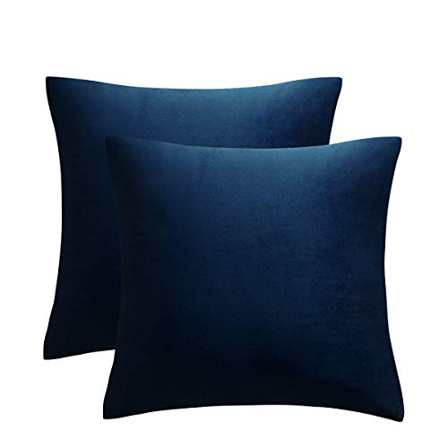 JUSPURBET Decorative Pillow Covers,Pack of 2 Velvet Throw Pillows Cases for Couch Bed Sofa,Soild Color Soft Pillowcases,16x16 Inches,Navy Blue