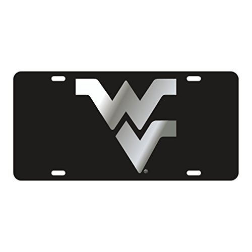 (West Virginia Mountianeers Laser Cut Inlaid Mirrored Black Plate w/Silver WV)