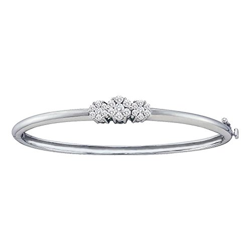 Roy Rose Jewelry 14K White Gold Womens Round Diamond Flower Cluster Bangle Bracelet 1-Carat tw ()