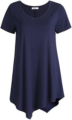 Esenchel Women's V-Neck Swing Shirt Casual Tunic Top for Leggings