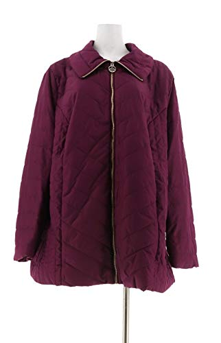 Dennis Basso Chevron Quilted Zip Front Jacket Deep Plum S New A298293