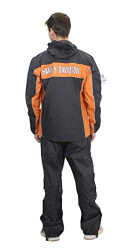 Harley-Davidson Mens Generations Reflective Waterproof Black Rain Suit (X-Large)