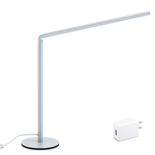 Kiwifun Aluminum Dimmable LED Desk Lamp with USB Cord, 6W Adjustable Brightness Table Lamp with Touch Sensitive Control, Eye-care Reading Lamp with Flexible Neck