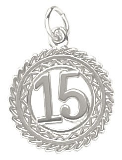 (Rembrandt Charms Number 15 Charm, 14K White Gold)