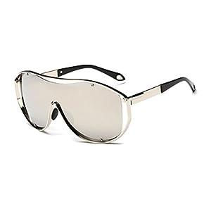 Konalla Oversized Fashion Metal Full Frame One-piece Flash Lenses Sunglasses C4