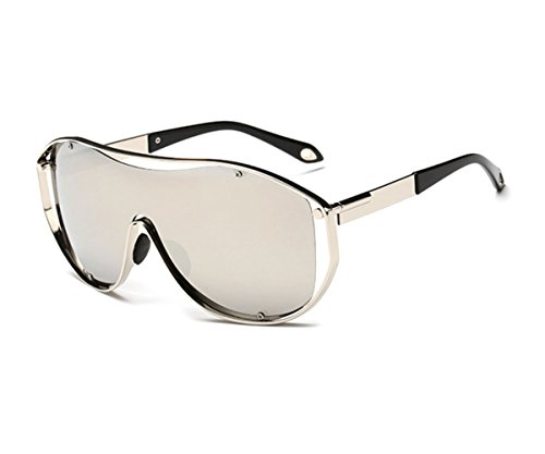Konalla Oversized Fashion Metal Full Frame One-piece Flash Lenses Sunglasses - I Oval Have An Do Face