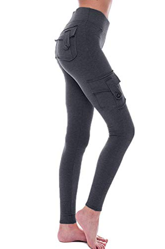 HSRKB Womens Cargo Pants Yoga Pants High Waist Slim Fit Pant with Muti Pockets Dark Grey