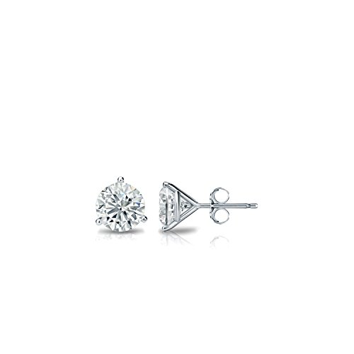 10k White Gold 3-Prong Martini Round Diamond Stud Earrings (1/6ct, Good, (Diamond Martini Stud)