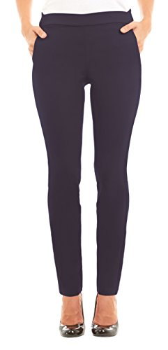 Velucci Womens Straight Leg Stretch Pants With Pockets, Navy-L (Pants Blue Stretch)