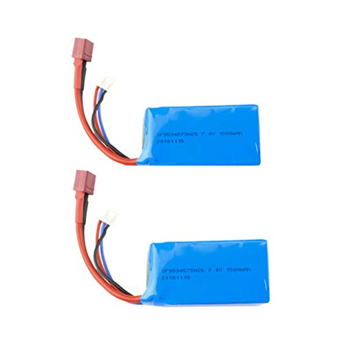 (Miklan 2PCs RC Car Replacement Lipo Battery,7.4V 1500mAH, for WLTOYS A959-B/A969-B/A979-B/K29-B 1/18 RC Car,Portable and)