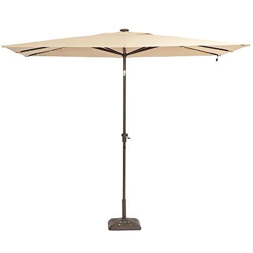 Hampton Bay 10 ft. x 6 ft. Aluminum Solar Patio Umbrella in Cafe (Hampton Bay Patio Umbrella)