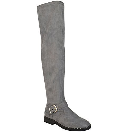Womens Ladies Thigh High Boots Over The Knee Western Stretch Flat Buckle Size Grey Faux Suede