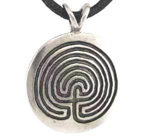 Protection Round Disk Maze Pendant Necklace - Durable Pewter - Bonus Cord Necklace
