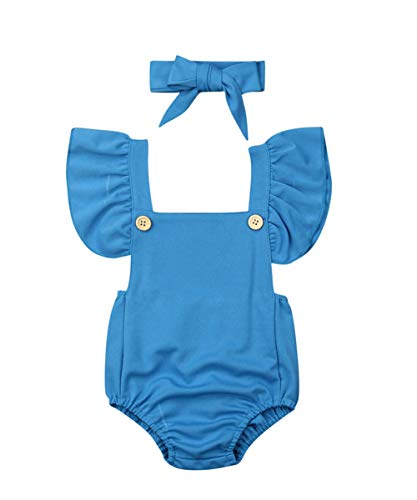 - Newborn Kids Baby Girls Clothes Floral Jumpsuit Romper Playsuit + Headband Outfits (Blue 3, 0-6 Months)