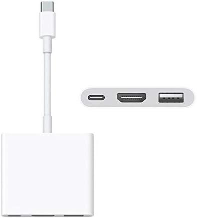 CloverUS USB-C Digital AV Multiport Adapter with USB Port White Durable for Apple