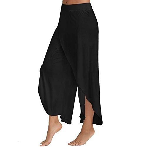 FAIYIWO Women Fashion Casual High Slit Flowy Layered Palazzo Pants Loose Wide Leg Pants FAIYIWO White Size L