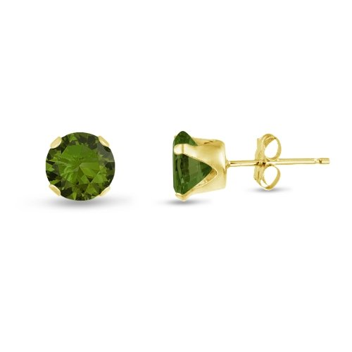 Round 7mm 14k Gold Plated Sterling Silver Olive Green CZ Stud Earrings, Free Gift Box included