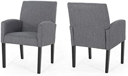 Fairy Contemporary Fabric Dining Chairs (Set of 2), Charcoal