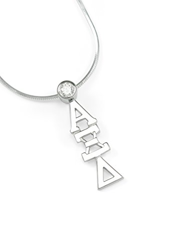 (The Collegiate Standard Alpha Xi Delta Sterling Silver Lavaliere with Swarovski Clear Crystal)