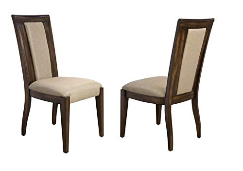 Bombay D2007SCU2230 Cicero Hardwood Upholstered Dining Chairs, Set of 2, Pecan, Brown