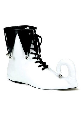 Black And White Clown Shoes (Clowns Jester-07 Boots in White-Black PU)
