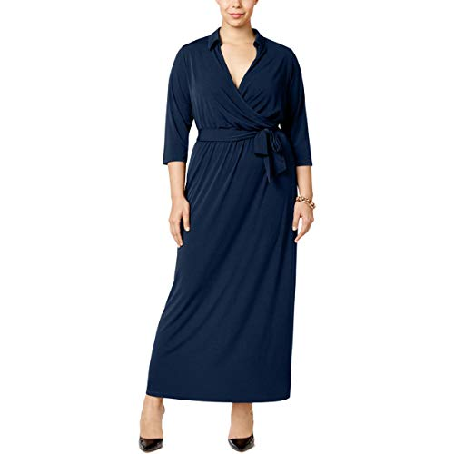 NY Collection Womens Plus Matte Jersey Surplice Evening Dress Navy ()