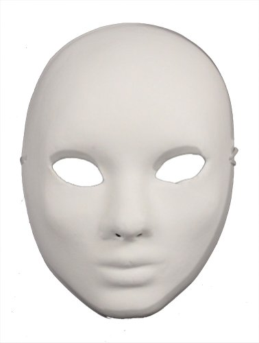 [RedSkyTrader Mens Plain Paper Mache Arts and Craft Mask One Size Fits Most White] (Plain White Mask Costume)