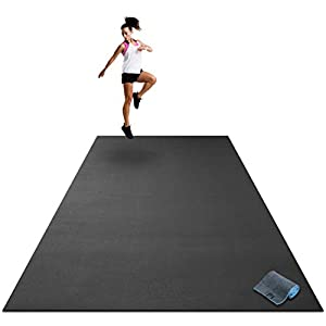 Premium Extra Large Exercise Mat – 9′ x 6′ x 1/4″ Ultra Durable, Non-Slip, Workout Mats for Home Gym Flooring – Plyo, MMA, Cardio Mat – Use with or Without Shoes (108″ Long x 72″ Wide x 6mm Thick)
