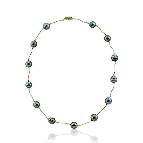 14K Or jaune-Collier Femme-Perle de culture de Tahiti 55,9cm