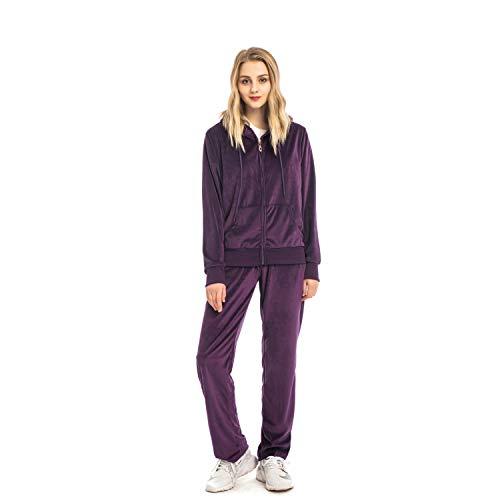 (Mesospero Women's 2 Piece Solid Velvet Tracksuit Set Full Zip-up Hooded Sweatshirts & Pants Set(Purple, S))