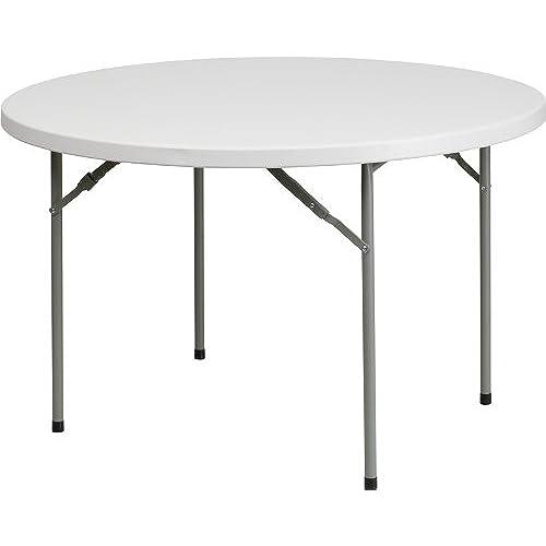 Flash Furniture 48u0027u0027 Round Granite White Plastic Folding Table