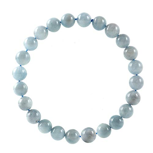 Natural Aquamarine Gemstone Bracelet 7.5 inch Stretchy Chakra Gems Stones Healing Crystal Great Gifts (Unisex) GB8B-19