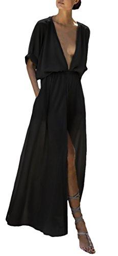 Abiti Donna 3 A Moda Elegante Semplice Vacanza Maxi Profondo Boho Vestiti Solido Chic Estivi Taglie Lungo 4 Comfort Manica Nero Abbigliamento Casuali Forti Abito Spacco V Ragazza Mare dw0Tx8