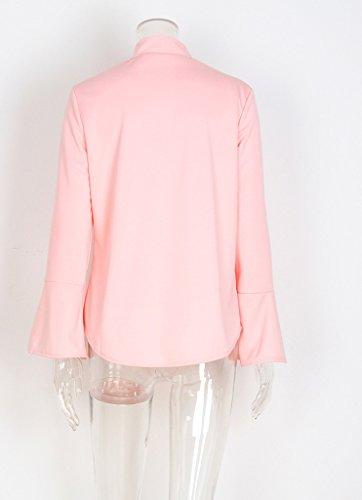 Autunno Casual Camicia Sciolto Blouses Manica Estiva Donna Puro Butterfly Colore Shirt Cintura Maglie Blusa Lunga Rosa A Elegante T Moda Con Top Maglietta U4U0qWSg