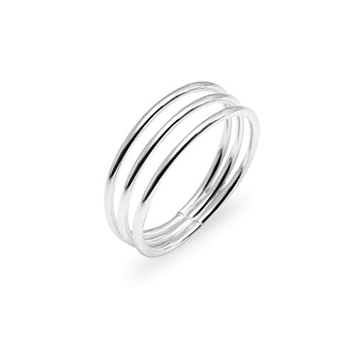- Sterling Silver Triple Line Minimalist Wrap Band Ring | Boho Chic Delicate Jewelry | Size 6