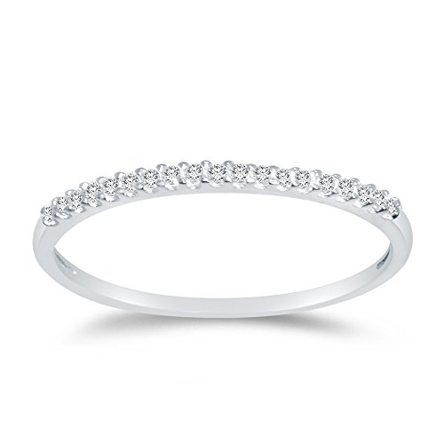 Size - 6 - Jewel Tie 14K White Gold 1.5mm Round Cut Thin Pave Set Wedding Ring Anniversary Band Cubic Zirconia CZ 1/4 cttw.