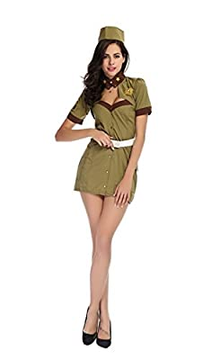 Army Green Uniforms Temptation Policewoman Halloween Costume