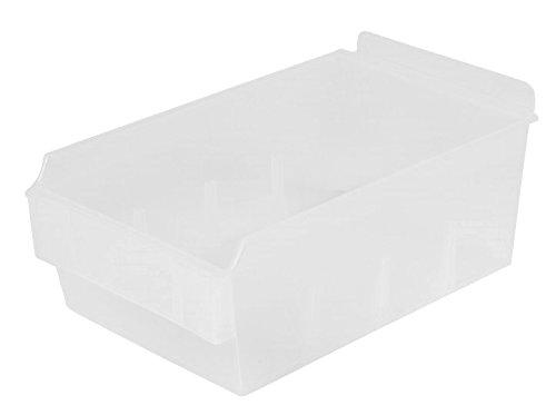 Slatwall Storage / Display bin, Plastic (polypropylene), 8.75''L x 5.5''W x 3.37''H, Clear (12 Pack) Fits grid and pegboard with optional adapters. by Slatbox brand, Shelfbox 200 model