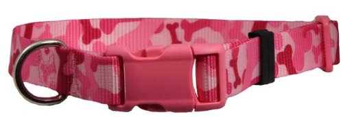 Country Brook Design Pink Bone Camo Patterned Dog Collar with Pink Buckle - Large