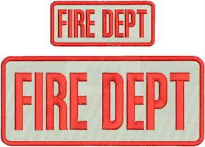 FIRE DEPT Embroidery Patch 4X10 & 2X5 Hook ON Back White/RED by HighQ Store (Dept Embroidery Fire)