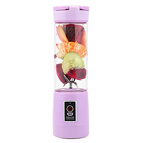 Evoio [Upgraded Version Personal USB Juicer Cup,Portable Juicer Blender,Household Fruit Mixer 380ml 6 Blades in 3D for Superb Mixing for Traveling Working Outdoors (Purple)