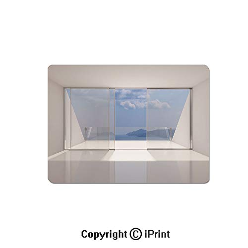 Personalized Coaster Lounge - Gaming Mouse Pads, Lounge Futuristic Minimalist Design with Bay Shore Ocean Sea View Photo Non Slip Rubber Mousepad,7.1x8.7 inch,White and Sky Blue