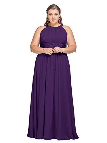 AW Women's Bridesmaid Dresses Long Jewel Neck Prom Dresses 2019 Chiffon Evening Formal Dresses, Regency, US16 (Purple Dress With Jewels)