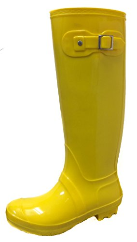Bamboo Padinton-01 Womens Winter Rain Boots *Wellingtons Wellies Rubber Waterproof Booties Knee High Mid Calf Yellow 9 (Girls Knee High Rain Boots compare prices)