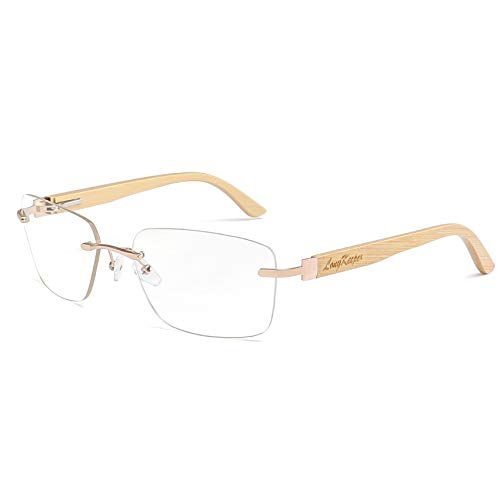 Bamboo Wood Arms Rimless Eyeglasses Men Women Driving Eyewares Frames By Long Keeper (Clear) ()