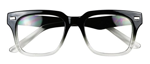 Basik Eyewear - Simple Square Bold Flat Top Retro Geeky Clear Lens Eye Glasses (Two Tone Black / Clear, - For Women Glasses Geeky