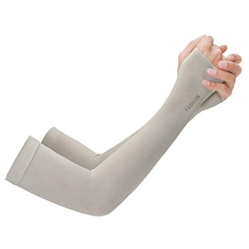 Transser UV Protection Cooling or Warmer Arm Sleeves for Men Women Sunblock Protective Gloves Running Golf Cycling Driving Fishing 1 Pair Long Tattoo Cover Arm Warmer (Gray)]()