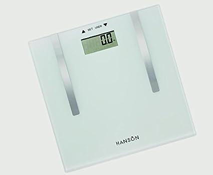 Hanson de grasa corporal báscula de baño cristal blanco translúcido con acabado 150 kg